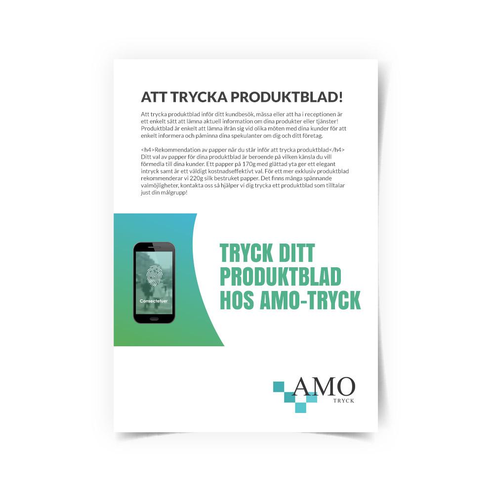Trycka produktblad - Tryck dina egna produktblad - AMO-Tryck. Ditt tryckeri i Stockholm, Solna
